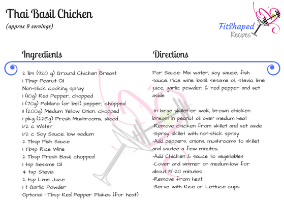Thai Basil Chicken Recipe Card